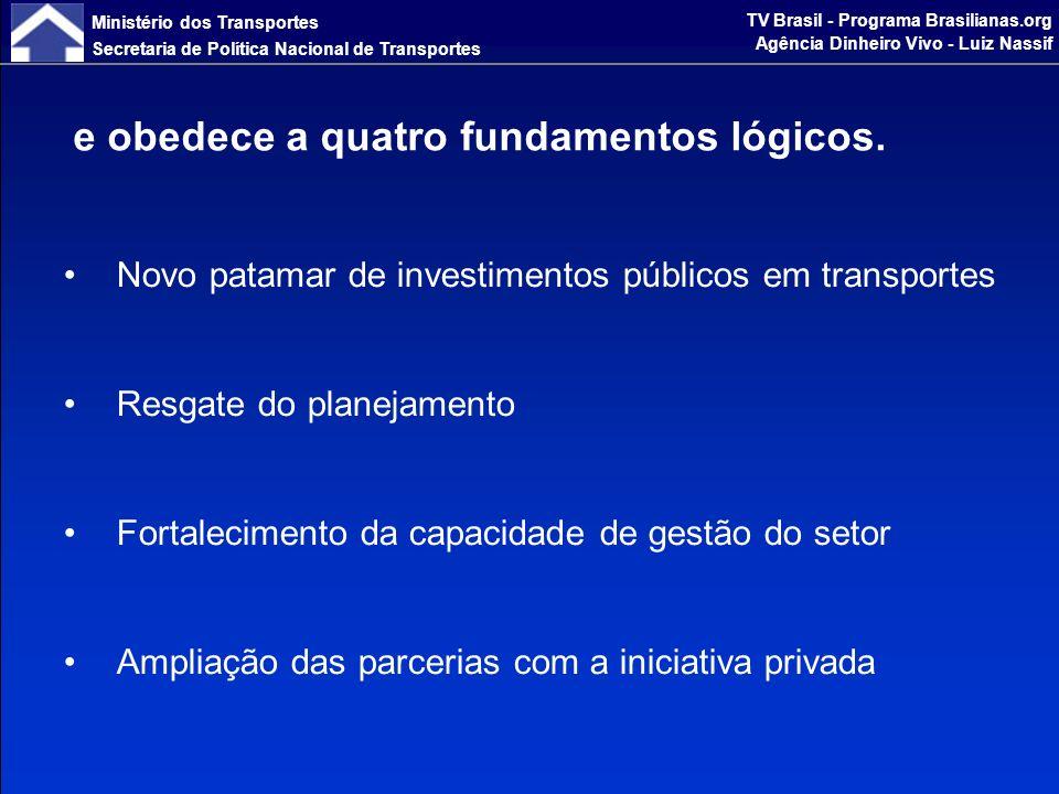 Ministério dos Transportes Secretaria de Política Nacional de Transportes TV Brasil - Programa Brasilianas.org Agência Dinheiro Vivo - Luiz Nassif Novo patamar de investimentos públicos em transportes