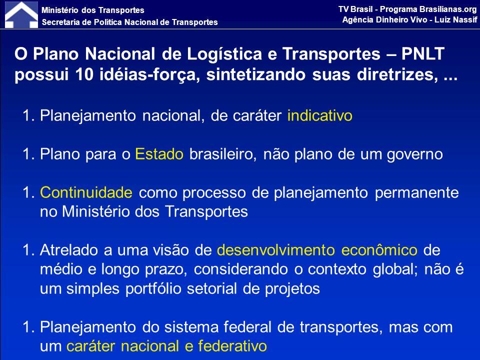 Ministério dos Transportes Secretaria de Política Nacional de Transportes TV Brasil - Programa Brasilianas.org Agência Dinheiro Vivo - Luiz Nassif...sua metodologia, sua forma participativa de elaboração e suas perspectivas de implantação.