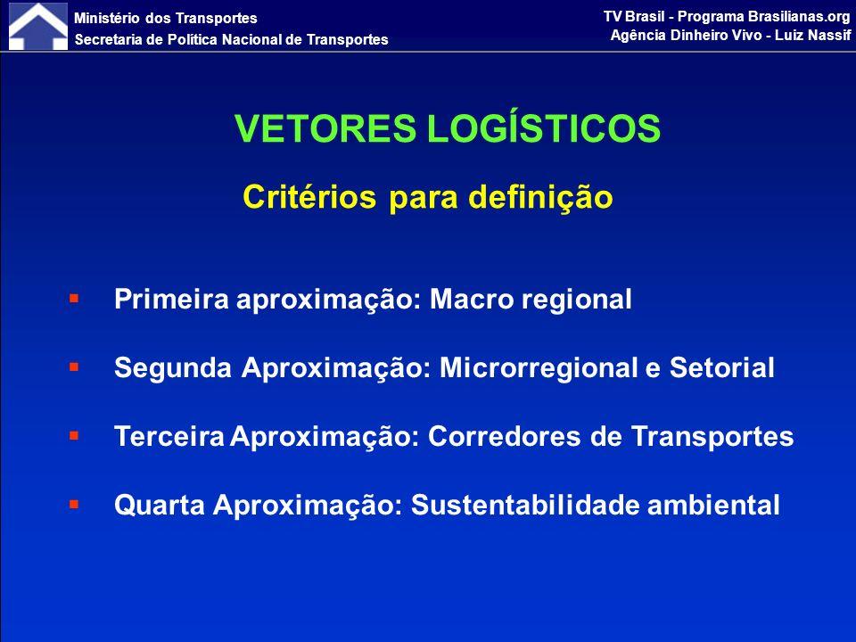 Ministério dos Transportes Secretaria de Política Nacional de Transportes TV Brasil - Programa Brasilianas.org Agência Dinheiro Vivo - Luiz Nassif A nova espacialização da Economia brasileira baseou-se na análise de quatro aproximações que foram superpostas, APROXIMAÇÃO MACRO-REGIONAL