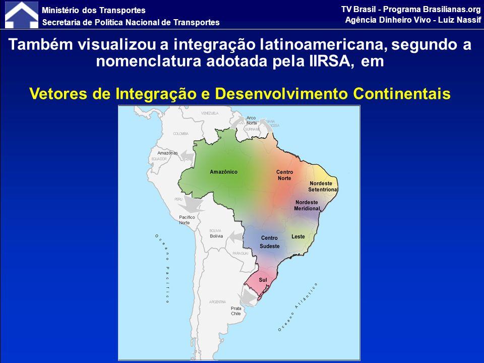 Ministério dos Transportes Secretaria de Política Nacional de Transportes TV Brasil - Programa Brasilianas.org Agência Dinheiro Vivo - Luiz Nassif Indicadores Socioeconômicos dos Vetores Logísticos