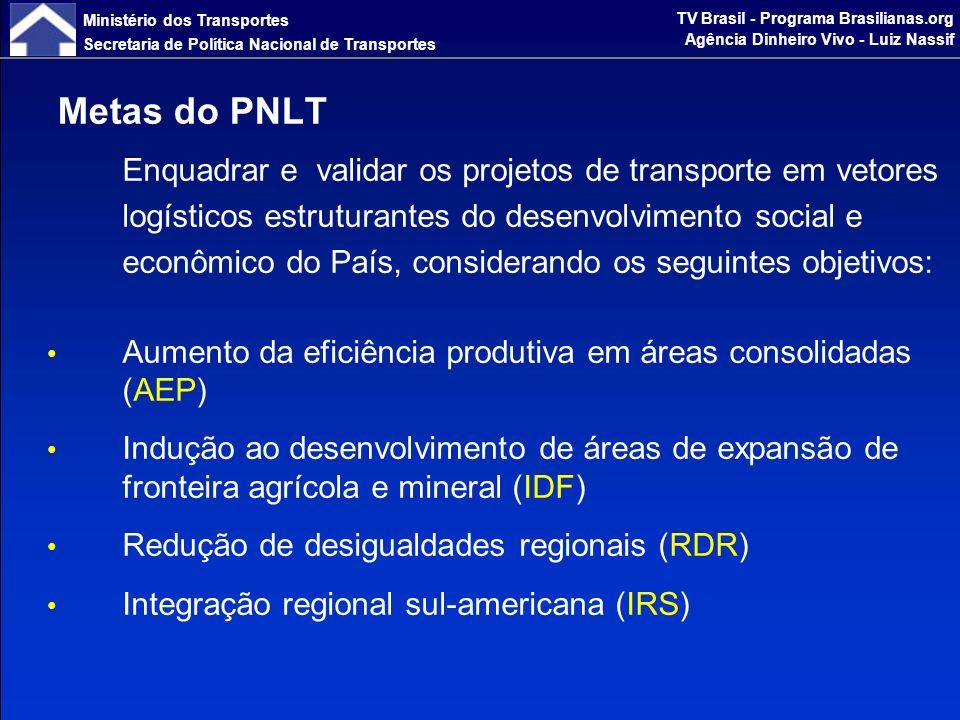 Ministério dos Transportes Secretaria de Política Nacional de Transportes TV Brasil - Programa Brasilianas.org Agência Dinheiro Vivo - Luiz Nassif O PAC é um programa consistente de investimentos (baseado no PNLT, no caso dos transportes) com vistas a superar os desafios na área de infraestrutura.