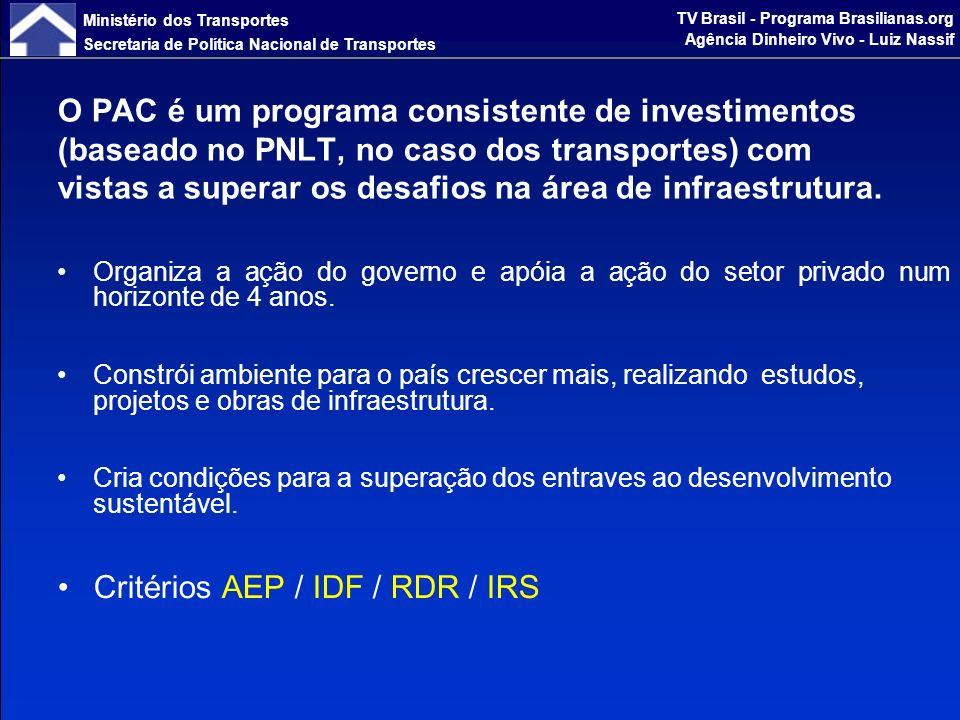 Ministério dos Transportes Secretaria de Política Nacional de Transportes TV Brasil - Programa Brasilianas.org Agência Dinheiro Vivo - Luiz Nassif Projetos voltados a incrementar a eficiência do abastecimento de insumos e do escoamento da produção em áreas que ostentam maior grau de consolidação e de desenvolvimento em sua estrutura produtiva.