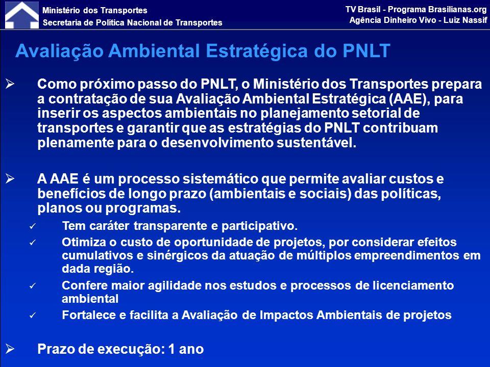 Ministério dos Transportes Secretaria de Política Nacional de Transportes TV Brasil - Programa Brasilianas.org Agência Dinheiro Vivo - Luiz Nassif Eficiência Energética e Sustentabilidade Ambiental associadas ao PNLT