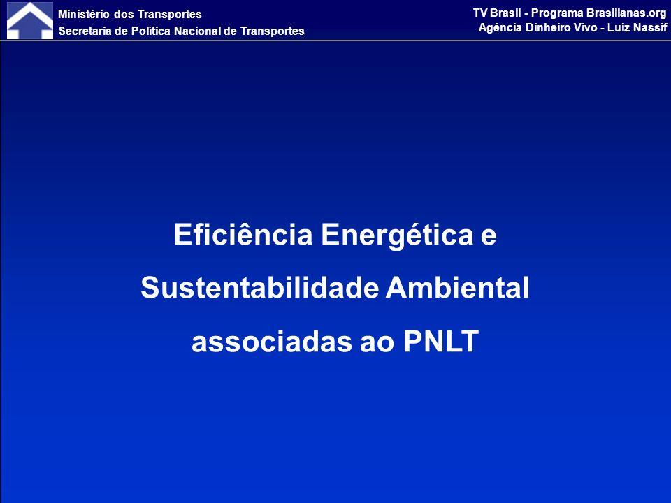 Ministério dos Transportes Secretaria de Política Nacional de Transportes TV Brasil - Programa Brasilianas.org Agência Dinheiro Vivo - Luiz Nassif Matriz de Oferta de Eletricidade - Brasil e Mundo (%) 6 20 15 12 16 1 38 41 5 4 2 3 4 3 23 3 85 0% 10% 20% 30% 40% 50% 60% 70% 80% 90% 100% BRASIL 2007OECD2006MUNDO 2006 OUTRAS CARVÃO HIDRÁULICA NUCLEAR GÁS PETRÓLEO 483 TWh - 89%18.930 TWh - 18% % renováveis 10.460 TWh - 16% Fonte: MME A matriz brasileira, com base em usinas hidrelétricas, é limpa.