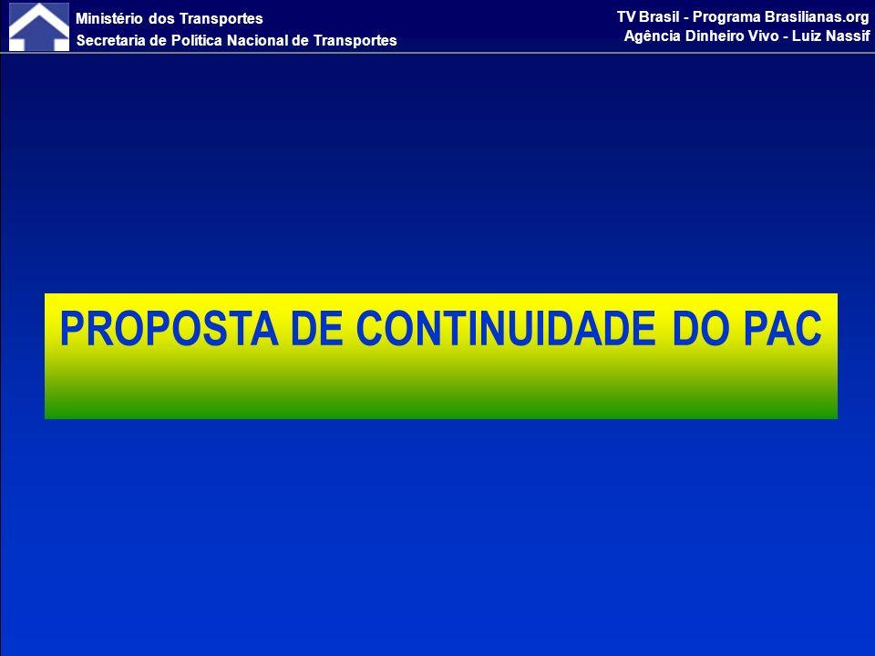 Ministério dos Transportes Secretaria de Política Nacional de Transportes TV Brasil - Programa Brasilianas.org Agência Dinheiro Vivo - Luiz Nassif EXPANSÃO DO SISTEMA RODOVIÁRIO MANUTENÇÃO E SEGURANÇA RODOVIÁRIA ESTUDOS E PROJETOS DIRETRIZES - RODOVIAS