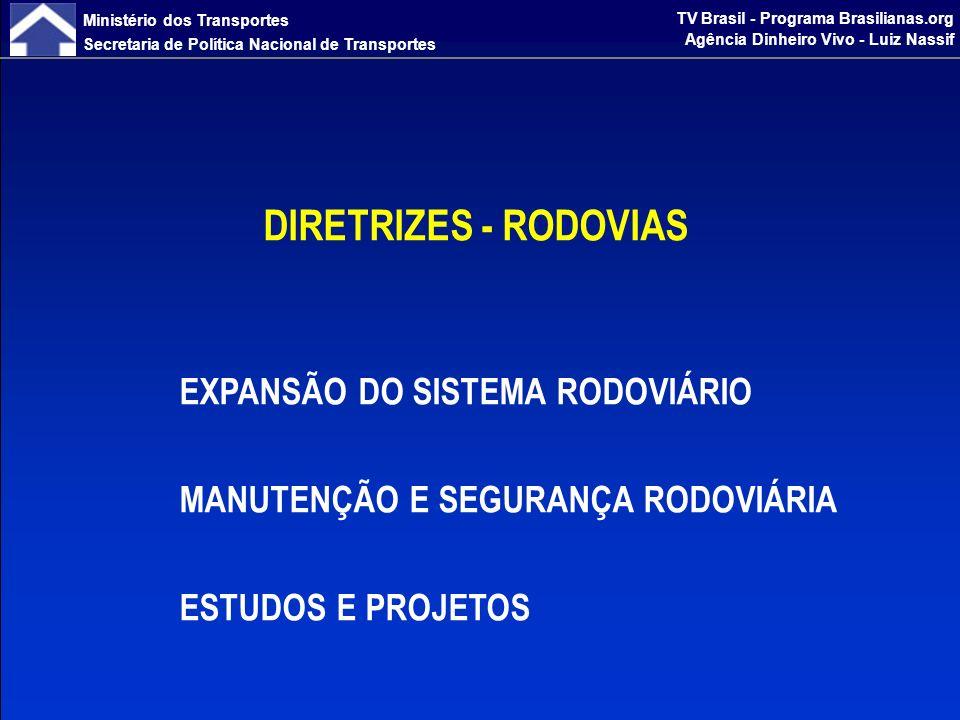 Ministério dos Transportes Secretaria de Política Nacional de Transportes TV Brasil - Programa Brasilianas.org Agência Dinheiro Vivo - Luiz Nassif EXPANSÃO DO SISTEMA RODOVIÁRIO Duplicação e Adequação de Capacidade de Eixos Estratégicos Eliminação de pontos de estrangulamento e duplicação de trechos estratégicos Adequação de Capacidade em pontos críticos: terceira faixa, alargamento, multivias Melhoria nos acessos aos portos marítimos Construção e Pavimentação de Eixos Estratégicos Incorporação de novas regiões ao processo de desenvolvimento nacional Promoção da integração física do Brasil com os países vizinhos Complementação de rodovias estruturantes Construção de Contornos e Travessias em áreas urbanas Separação do tráfego de longa distância do tráfego local, com redução de congestionamentos, tempos de viagem e acidentes DIRETRIZES - RODOVIAS