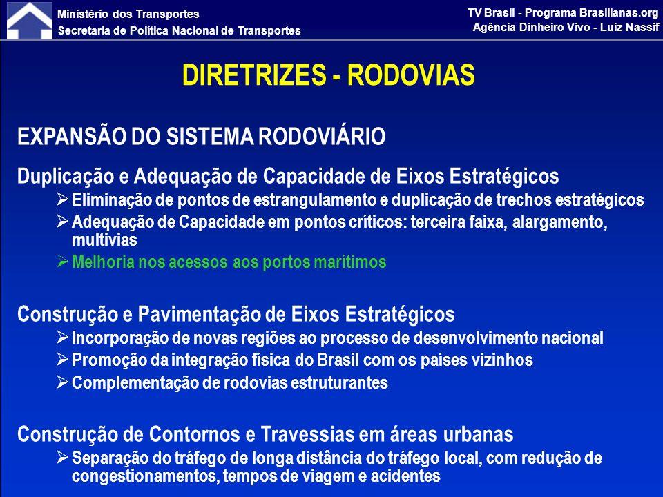 Ministério dos Transportes Secretaria de Política Nacional de Transportes TV Brasil - Programa Brasilianas.org Agência Dinheiro Vivo - Luiz Nassif DIRETRIZES - RODOVIAS MANUTENÇÃO E SEGURANÇA RODOVIARIA Manutenção Preservação do patrimônio rodoviário existente, com serviços de recuperação, conservação e sinalização em toda a malha rodoviária federal Melhoria da qualidade, por meio de contratos de manutenção de longo prazo - 5 anos Plano Nacional de Pesagem Controle da sobrecarga dos veículos, preservando a vida útil das rodovias Controle de Velocidade Redução do índice de acidentes ESTUDOS E PROJETOS Garantir um portfólio de projetos para subsidiar o programa de investimentos em infraestrutura rodoviária