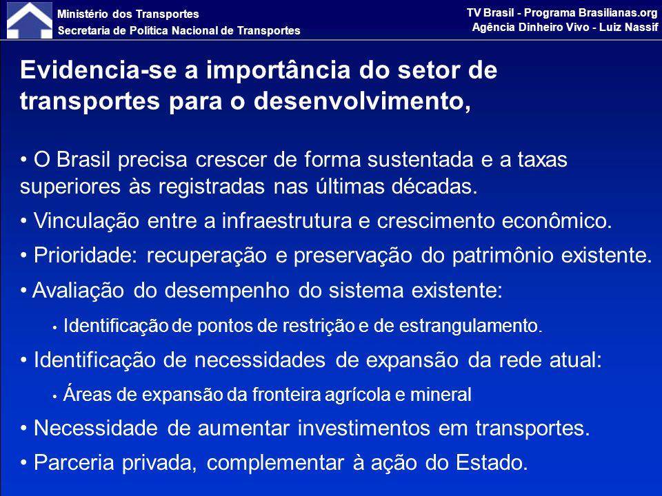 Ministério dos Transportes Secretaria de Política Nacional de Transportes TV Brasil - Programa Brasilianas.org Agência Dinheiro Vivo - Luiz Nassif que se reflete em princípios e diretrizes, consolidando uma política para o setor.