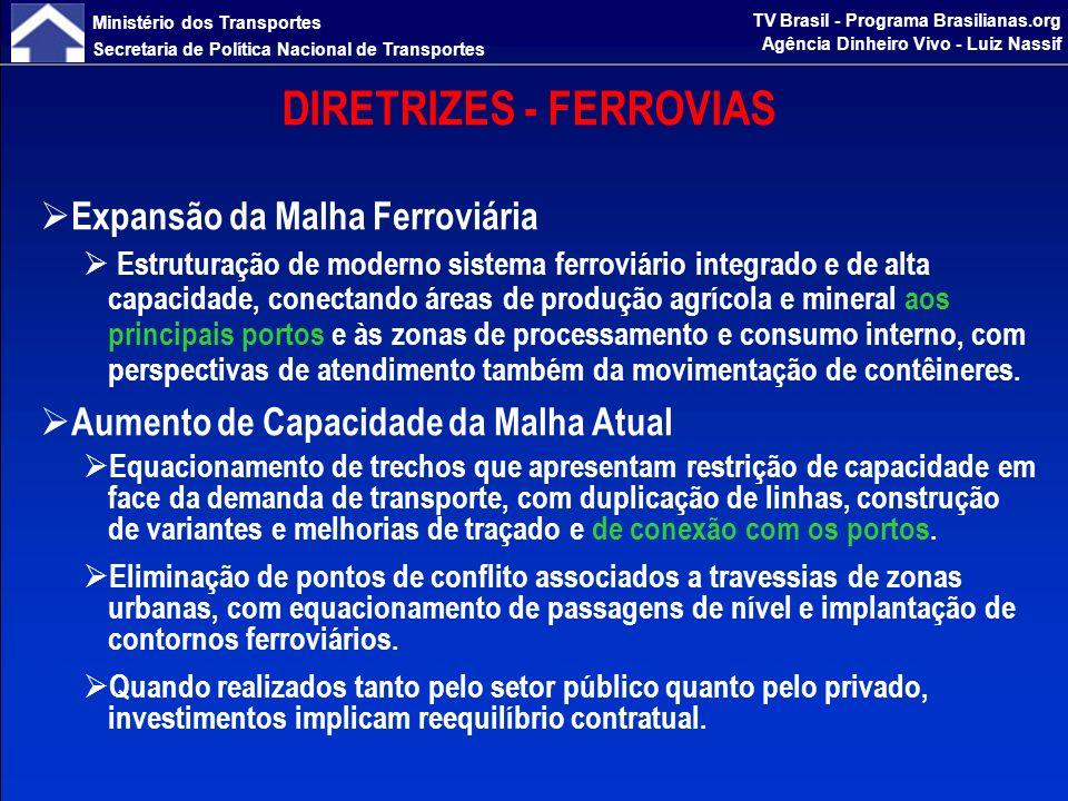 Ministério dos Transportes Secretaria de Política Nacional de Transportes TV Brasil - Programa Brasilianas.org Agência Dinheiro Vivo - Luiz Nassif DIRETRIZES - FERROVIAS Estudos de Ferrovias para a Integração Multimodal Desenvolvimento de estudos para ampliação e melhor utilização da malha de infraestrutura, aproveitando o potencial de transporte das ferrovias, integradas aos modos rodoviário e hidroviário, visando à redução de custos logísticos e a uma maior eficiência operacional.
