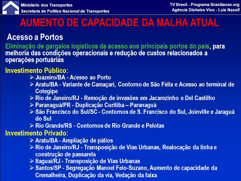 Ministério dos Transportes Secretaria de Política Nacional de Transportes TV Brasil - Programa Brasilianas.org Agência Dinheiro Vivo - Luiz Nassif AUMENTO DE CAPACIDADE DA MALHA ATUAL Corredores Ferroviários e Contornos Investimento em obras de duplicação de linhas, construção de variantes, melhorias de traçado e eliminação de conflitos urbanos para aumentar a eficiência do transporte, reduzindo o ciclo de operação dos trens e maximizando o uso da infraestrutura e do material rodante Investimento Público: Araguari/MG – Belo Horizonte/MG - Contorno de Divinópolis, Rebaixamento de Linha em Betim Ibirité/MG – Barra do Piraí/RJ - Transposição em Juiz de Fora Barra do Piraí/RJ – Manoel Feio/SP - Adequação em Barra Mansa, Transposição em Mogi das Cruzes, Rebaixamento de Linha em Pindamonhangaba Estrela DOeste/SP – Santos/SP - Contorno de Araraquara Contorno de Ourinhos/SP Contorno de Três Lagoas/MS Contorno de Apucarana/PR Contorno Oeste de Curitiba/PR