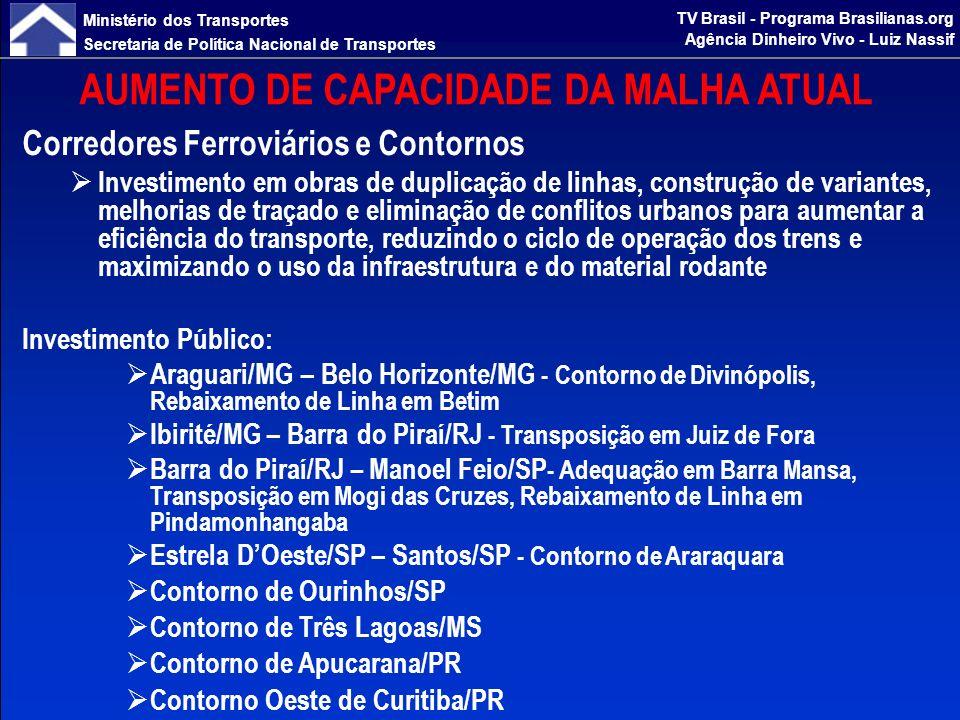 Ministério dos Transportes Secretaria de Política Nacional de Transportes TV Brasil - Programa Brasilianas.org Agência Dinheiro Vivo - Luiz Nassif AUMENTO DE CAPACIDADE DA MALHA ATUAL Corredores Ferroviários e Contornos Investimento Privado: Araguari/MG – Belo Horizonte/MG – Viaduto de Patrocínio, Variante de Itaúna, Duplicação Eldorado-Imbiruçu Ibirité /MG – Barra do Piraí/RJ - Transposição em Vias Urbanas Barra do Piraí/RJ – Manoel Feio/SP - Transposição em Vias Urbanas Estrela DOeste/SP – Santos/SP - Projeto ALL/COSAN, Transposição em Vias Urbanas Travessia de Belo Horizonte (Companhia VALE) Investimento com fonte a definir: Transposição de São Paulo - Segregação R.