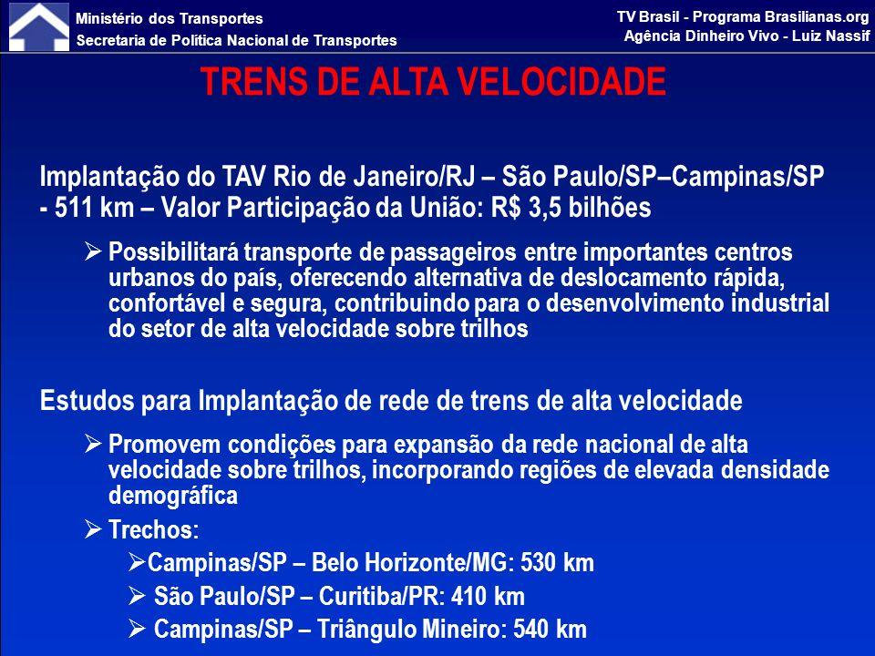 Ministério dos Transportes Secretaria de Política Nacional de Transportes TV Brasil - Programa Brasilianas.org Agência Dinheiro Vivo - Luiz Nassif ESTUDOS DE FERROVIAS PARA INTEGRAÇÃO MULTIMODAL Integração da Ferrovia Oeste-Leste com a Ferrovia Norte-Sul Barreiras/BA – Figueirópolis/TO: 520 km Integração da Ferrovia Nova Transnordestina à Ferrovia Norte-Sul Eliseu Martins/PI – Estreito/MA: 596 km Ferrovia de Integração do Centro-Oeste Lucas do Rio Verde/MT – Vilhena/RO: 598 km Corredor Ferroviário do Paraná Dourados/MS – Cascavel/PR: 523 km Ferrovia Norte Sul Panorama/SP – Chapecó/SC – (Porto Alegre / Pelotas) Rio Grande/RS: 1.620 km Ferronorte Rondonópolis/MT – Cuiabá/MT: 220 km Corredor Ferroviário de Santa Catarina Dionísio Cerqueira/SC – Chapecó/SC – Itajaí/SC (Ferrovia do Frango): 598 km