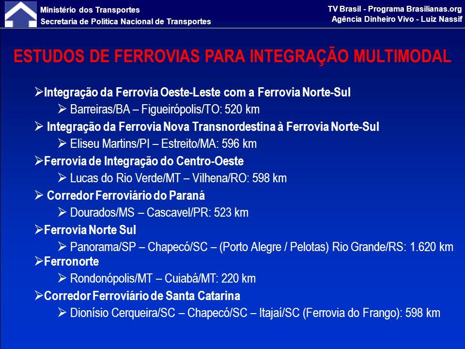 Ministério dos Transportes Secretaria de Política Nacional de Transportes TV Brasil - Programa Brasilianas.org Agência Dinheiro Vivo - Luiz Nassif DIRETRIZES - HIDROVIAS Estruturação de Corredores Hidroviários Executar obras de dragagem, derrocamento, manutenção, sinalização e balizamento, assim como terminais, para ampliar a movimentação de cargas por via fluvial Construção de Terminais Hidroviários Assegurar infraestrutura portuária adequada para a movimentação de pessoas e cargas Estudos e Projetos Hidroviários Identificar os fluxos de transporte que possam ser apropriados ao modo hidroviário e quantificação dos investimentos necessários
