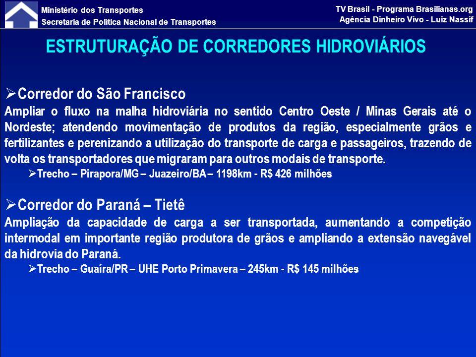 Ministério dos Transportes Secretaria de Política Nacional de Transportes TV Brasil - Programa Brasilianas.org Agência Dinheiro Vivo - Luiz Nassif ESTRUTURAÇÃO DE CORREDORES HIDROVIÁRIOS Corredor do Mercosul Tornar o corredor hidroviário um meio mais seguro e regular de transporte de cargas, garantindo a navegação internacional durante todo o ano e o incremento na competitividade do agronegócio, dando uma melhor solução logística ao escoamento da produção, especialmente de arroz, para atender o abastecimento interno e externo.