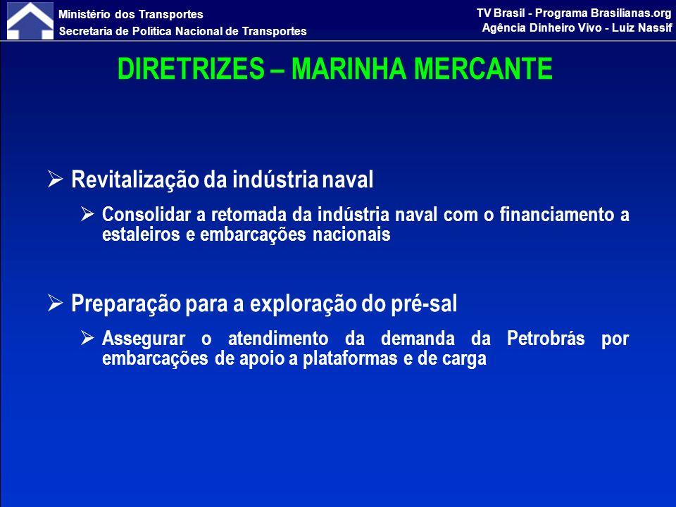 Ministério dos Transportes Secretaria de Política Nacional de Transportes TV Brasil - Programa Brasilianas.org Agência Dinheiro Vivo - Luiz Nassif CONTRATAÇÃO DE FINANCIAMENTOS PAC 1 (2007-2010) CONTRATAÇÃO (R$ bi) realizado até fev/2010 previsto até dez/2010 10,111,1 META 12,0 PAC 2 (2011-2014) CONTRATAÇÃO (R$ bi) já priorizadas a serem priorizadas 18,47,6 TOTAL 37,1 Transpetro + Petrobrás – 2011/2012 11,1
