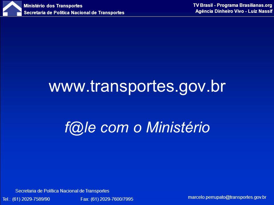 Ministério dos Transportes Secretaria de Política Nacional de Transportes TV Brasil - Programa Brasilianas.org Agência Dinheiro Vivo - Luiz Nassif www