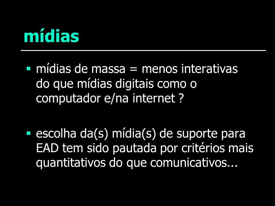 mídias mídias de massa = menos interativas do que mídias digitais como o computador e/na internet ? escolha da(s) mídia(s) de suporte para EAD tem sid