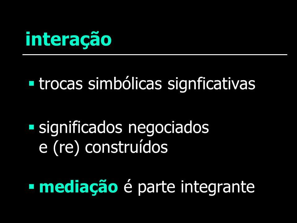 interação trocas simbólicas signficativas significados negociados e (re) construídos mediação é parte integrante