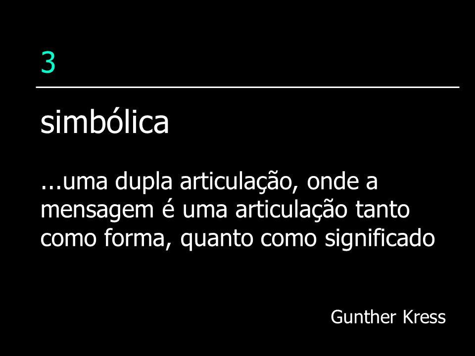 3...uma dupla articulação, onde a mensagem é uma articulação tanto como forma, quanto como significado Gunther Kress