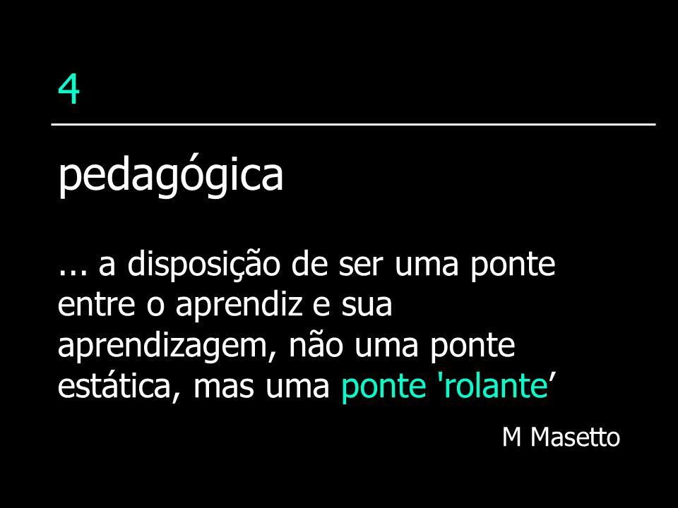 4... a disposição de ser uma ponte entre o aprendiz e sua aprendizagem, não uma ponte estática, mas uma ponte 'rolante M Masetto