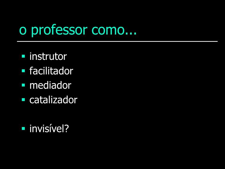 o professor como... instrutor facilitador mediador catalizador invisível?
