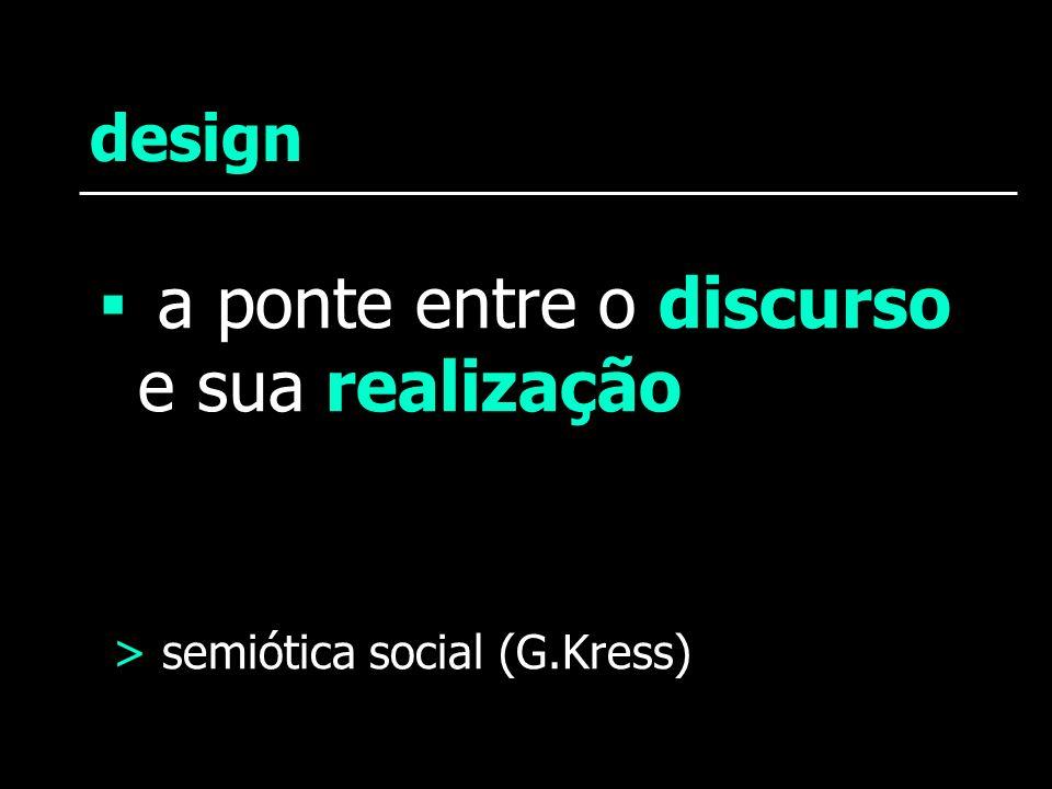 design a ponte entre o discurso e sua realização > semiótica social (G.Kress)
