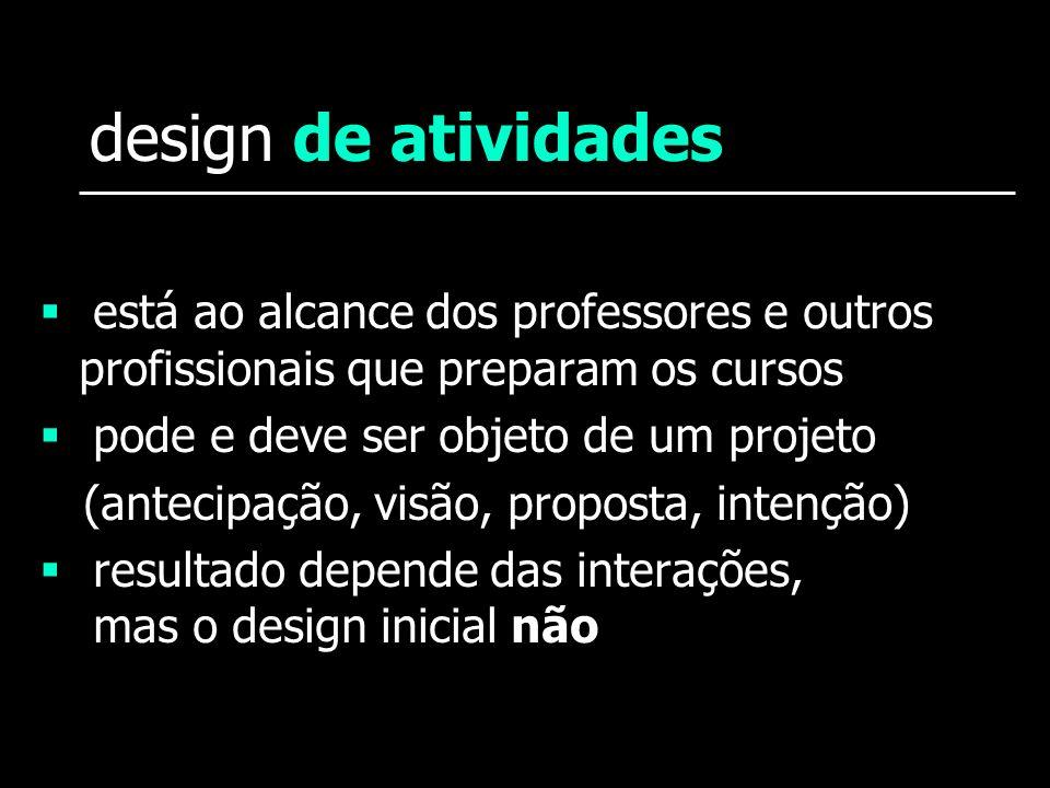 design de atividades está ao alcance dos professores e outros profissionais que preparam os cursos pode e deve ser objeto de um projeto (antecipação,