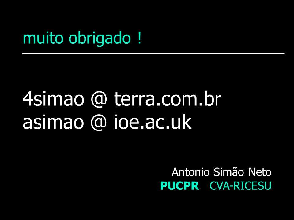 muito obrigado ! 4simao @ terra.com.br asimao @ ioe.ac.uk Antonio Simão Neto PUCPR CVA-RICESU