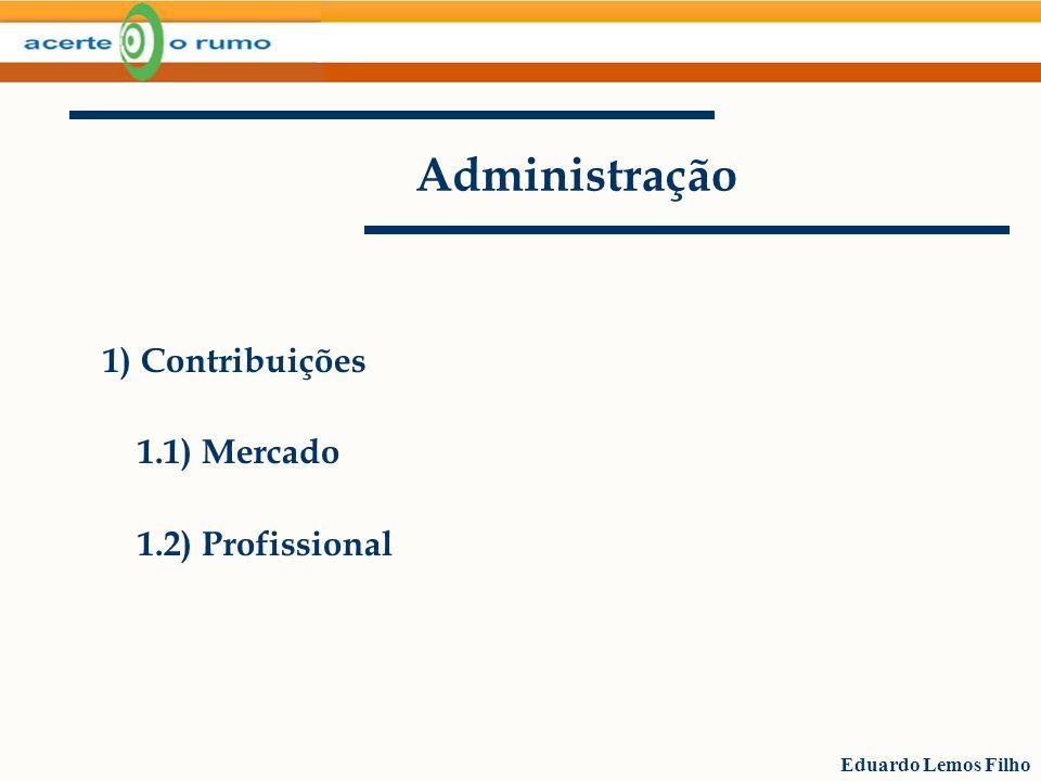 Eduardo Lemos Filho Administração 1.1) Contribuições/ Mercado Área de atuação abrangente Vagas para os bons Governança corporativa, capital estrangeiro, abertura de capital, gestão profissional e transparente.