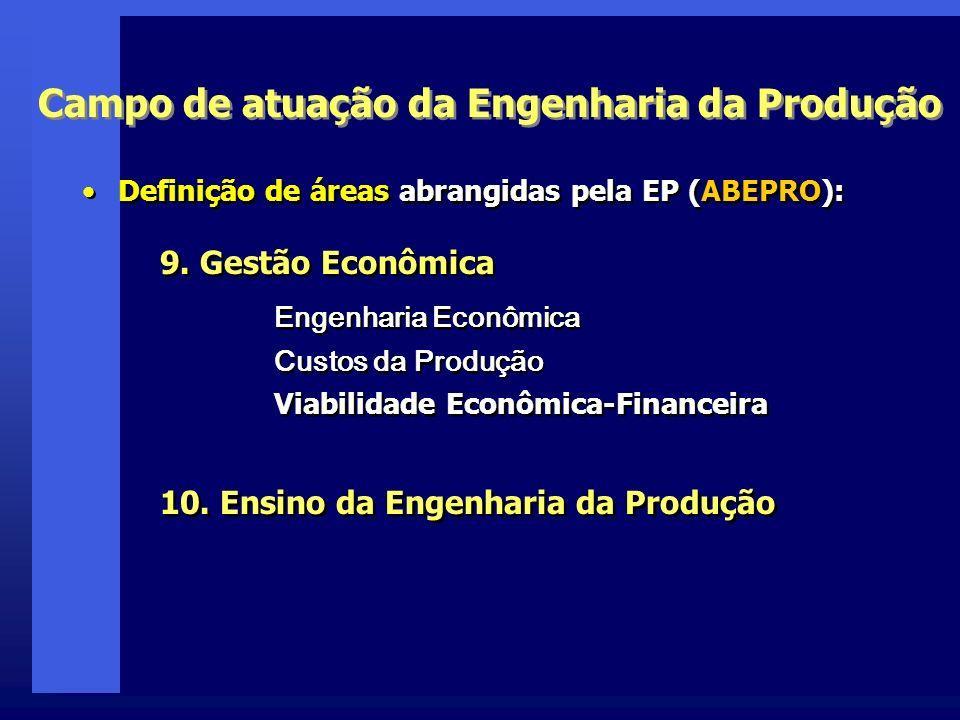 Campo de atuação da Engenharia da Produção Definição de áreas abrangidas pela EP (ABEPRO): 9. Gestão Econômica Engenharia Econômica Custos da Produção