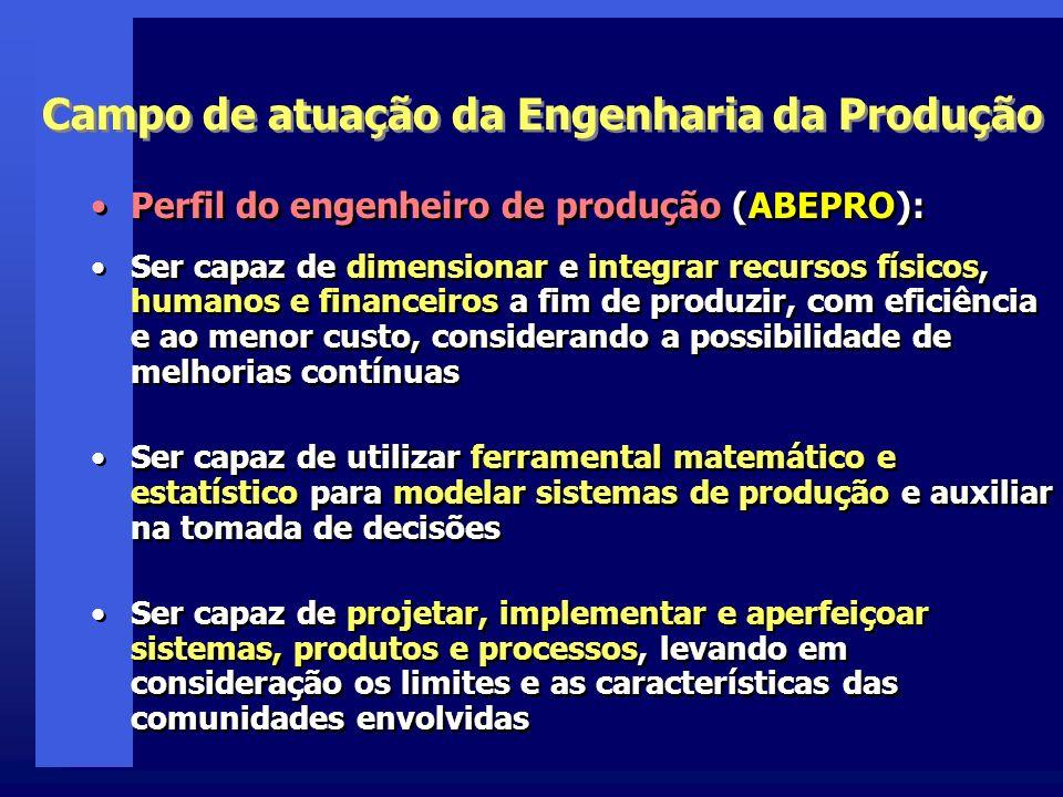 Campo de atuação da Engenharia da Produção Perfil do engenheiro de produção (ABEPRO): Ser capaz de dimensionar e integrar recursos físicos, humanos e