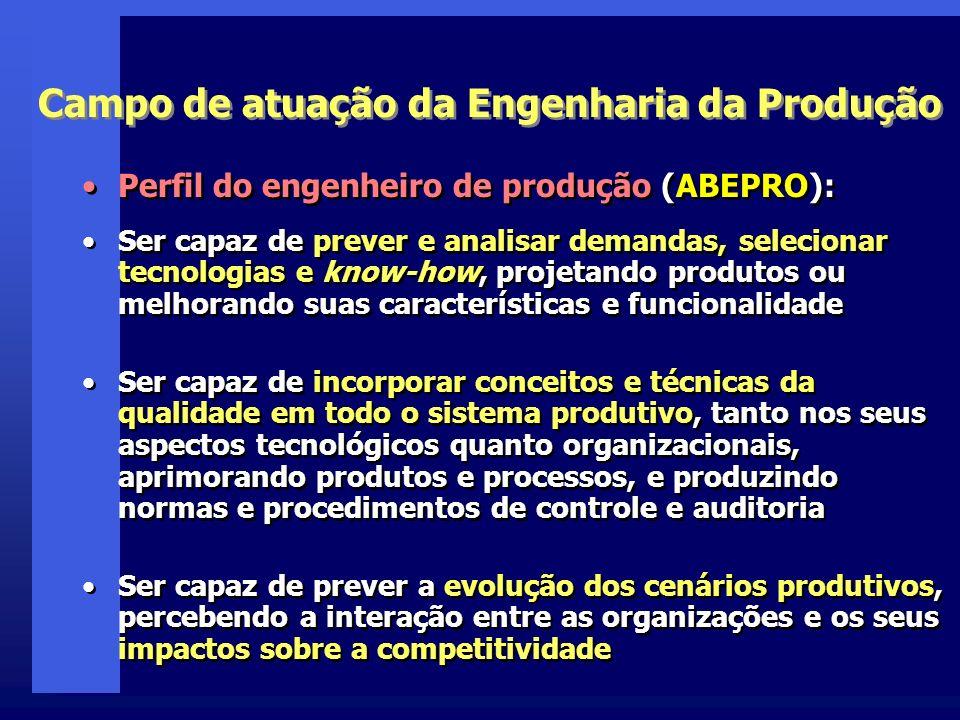 Campo de atuação da Engenharia da Produção Perfil do engenheiro de produção (ABEPRO): Ser capaz de prever e analisar demandas, selecionar tecnologias