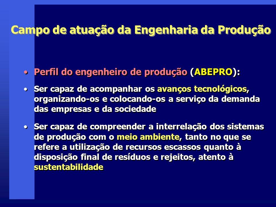 Campo de atuação da Engenharia da Produção Perfil do engenheiro de produção (ABEPRO): Ser capaz de acompanhar os avanços tecnológicos, organizando-os
