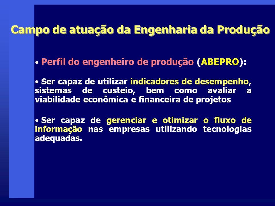 Perfil do engenheiro de produção (ABEPRO): Ser capaz de utilizar indicadores de desempenho, sistemas de custeio, bem como avaliar a viabilidade econôm