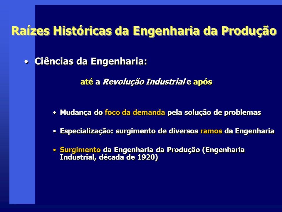 Raízes Históricas da Engenharia da Produção Ciências da Engenharia: até a Revolução Industrial e após Mudança do foco da demanda pela solução de probl