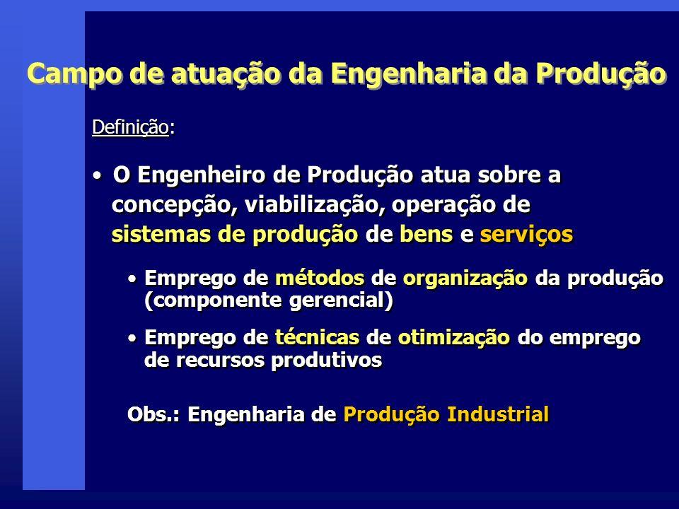 Campo de atuação da Engenharia da Produção Definição: O Engenheiro de Produção atua sobre a concepção, viabilização, operação de sistemas de produção