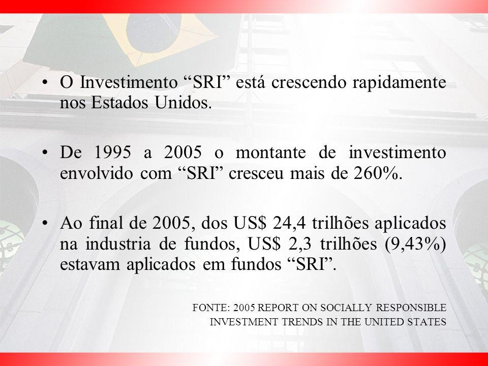 O Investimento SRI está crescendo rapidamente nos Estados Unidos. De 1995 a 2005 o montante de investimento envolvido com SRI cresceu mais de 260%. Ao