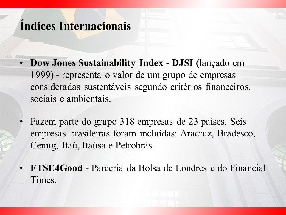 Dow Jones Sustainability Index - DJSI (lançado em 1999) - representa o valor de um grupo de empresas consideradas sustentáveis segundo critérios finan