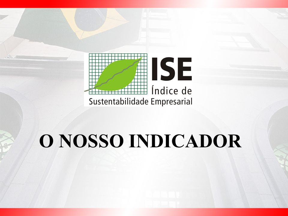 ISE x IBOVESPA Base 1000 = 31/11/2005 Até 22/6/07 OSC.% NO PERÍODO ISE = + 66,5% IBOVESPA = + 70,0%