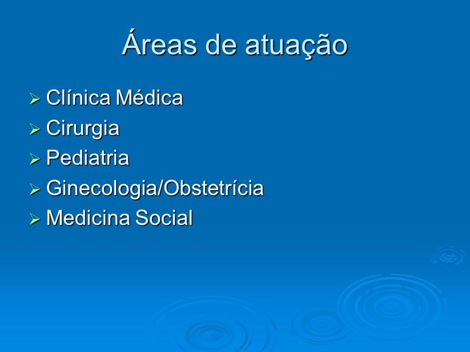 Áreas de atuação Clínica Médica Clínica Médica Cirurgia Cirurgia Pediatria Pediatria Ginecologia/Obstetrícia Ginecologia/Obstetrícia Medicina Social M