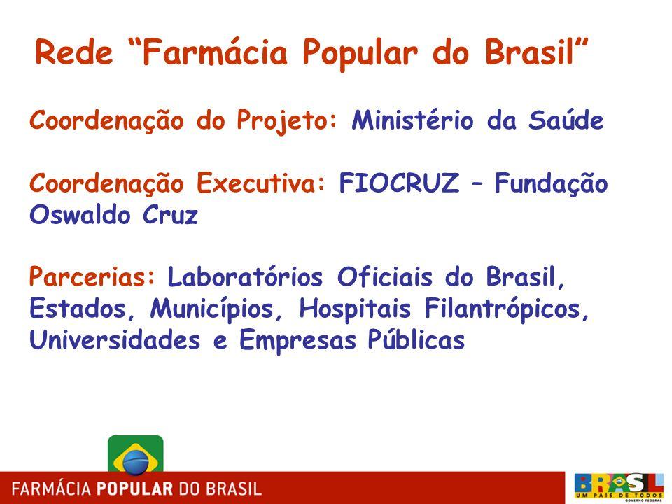 Coordenação do Projeto: Ministério da Saúde Coordenação Executiva: FIOCRUZ – Fundação Oswaldo Cruz Parcerias: Laboratórios Oficiais do Brasil, Estados