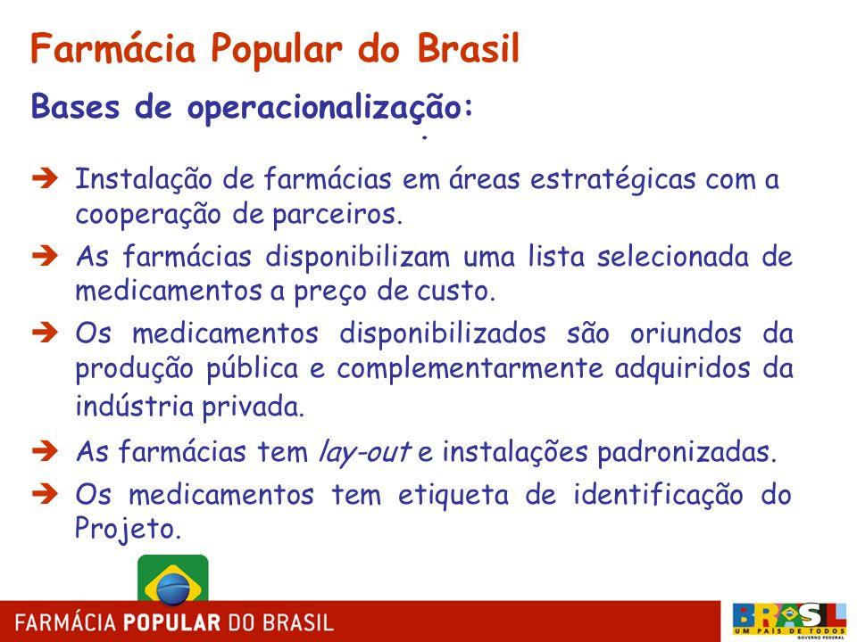 . Farmácia Popular do Brasil Bases de operacionalização: Instalação de farmácias em áreas estratégicas com a cooperação de parceiros. As farmácias dis