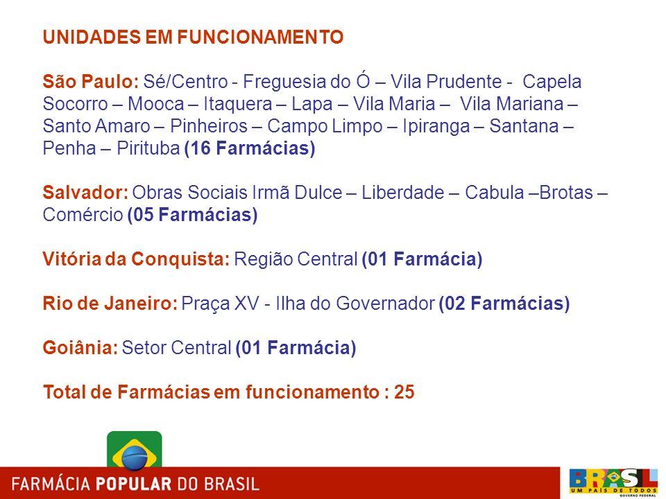 UNIDADES EM FUNCIONAMENTO São Paulo: Sé/Centro - Freguesia do Ó – Vila Prudente - Capela Socorro – Mooca – Itaquera – Lapa – Vila Maria – Vila Mariana