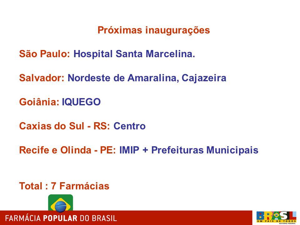 Próximas inaugurações São Paulo: Hospital Santa Marcelina. Salvador: Nordeste de Amaralina, Cajazeira Goiânia: IQUEGO Caxias do Sul - RS: Centro Recif
