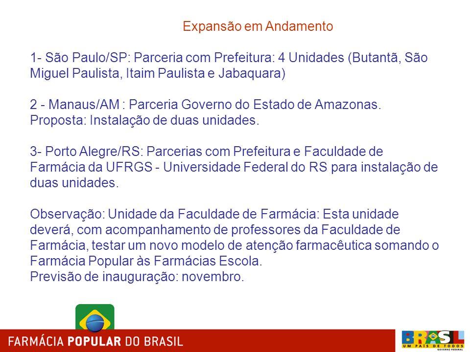 Expansão em Andamento 1- São Paulo/SP: Parceria com Prefeitura: 4 Unidades (Butantã, São Miguel Paulista, Itaim Paulista e Jabaquara) 2 - Manaus/AM :