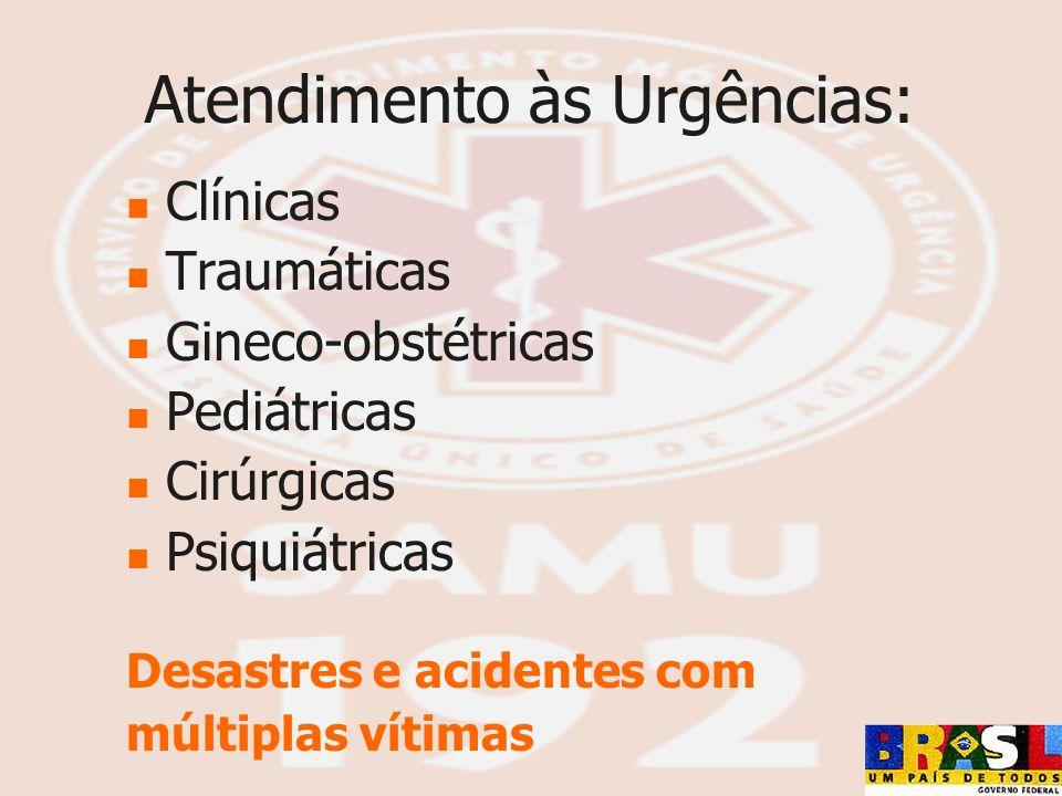 Atendimento às Urgências: Clínicas Traumáticas Gineco-obstétricas Pediátricas Cirúrgicas Psiquiátricas Desastres e acidentes com múltiplas vítimas