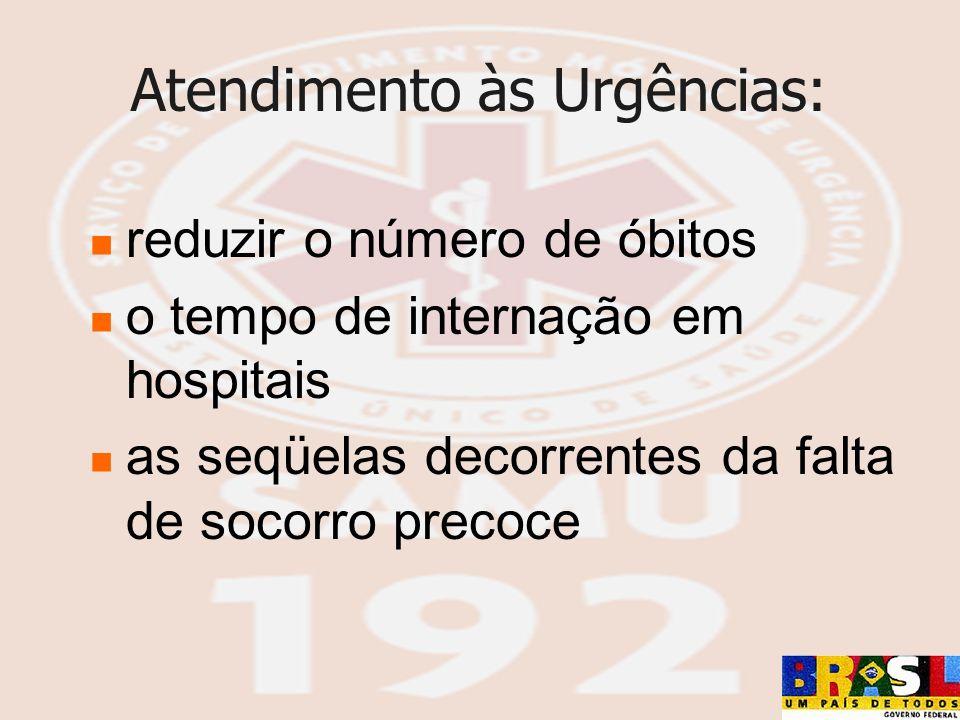 Atendimento às Urgências: reduzir o número de óbitos o tempo de internação em hospitais as seqüelas decorrentes da falta de socorro precoce
