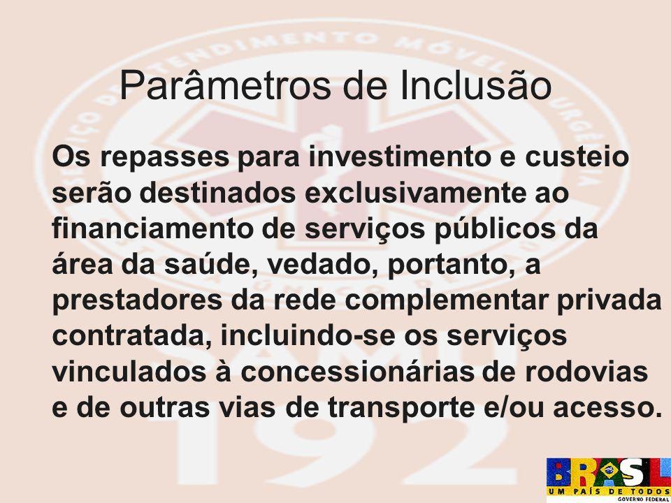 Os repasses para investimento e custeio serão destinados exclusivamente ao financiamento de serviços públicos da área da saúde, vedado, portanto, a pr