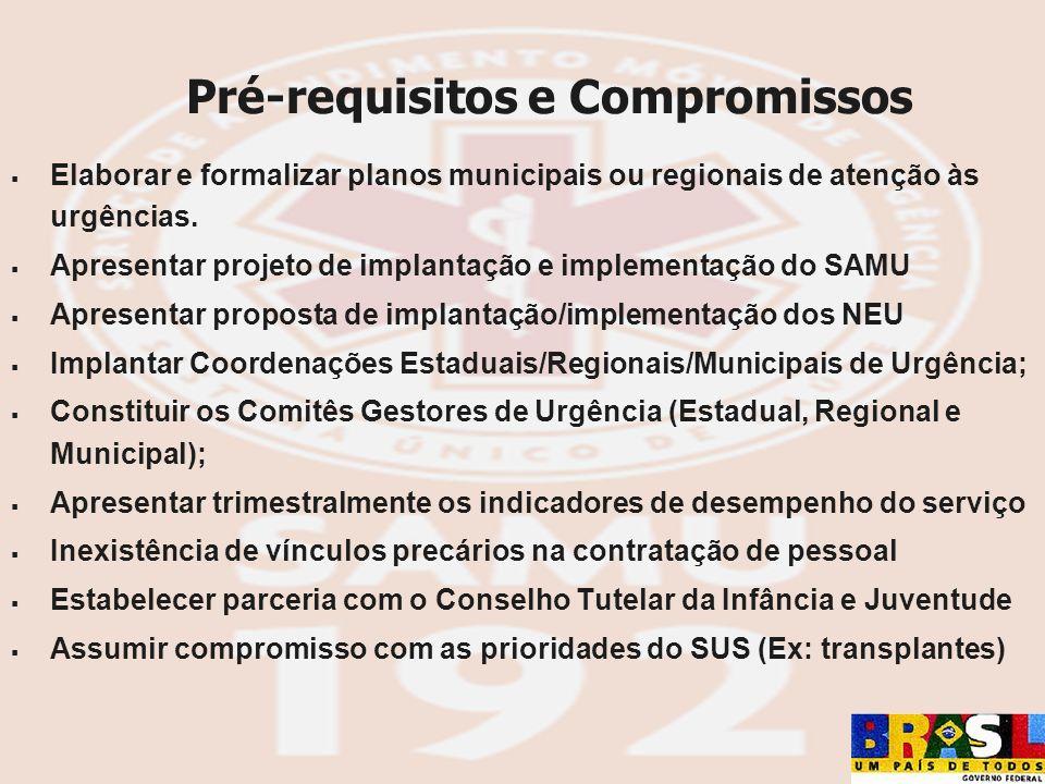 Pré-requisitos e Compromissos Elaborar e formalizar planos municipais ou regionais de atenção às urgências. Apresentar projeto de implantação e implem