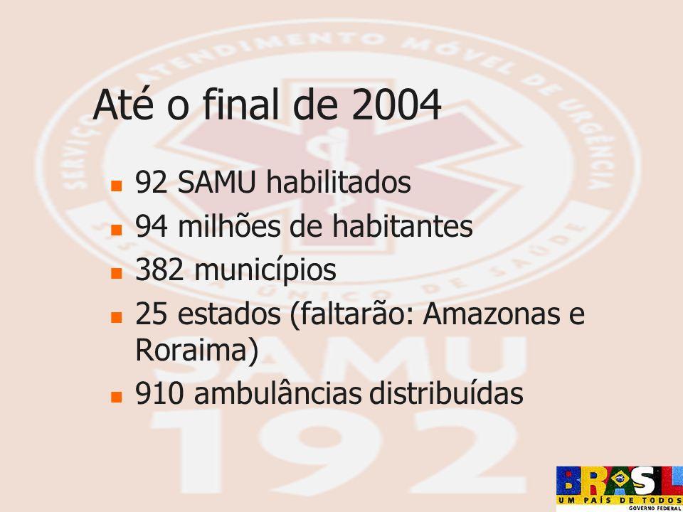 Até o final de 2004 92 SAMU habilitados 94 milhões de habitantes 382 municípios 25 estados (faltarão: Amazonas e Roraima) 910 ambulâncias distribuídas